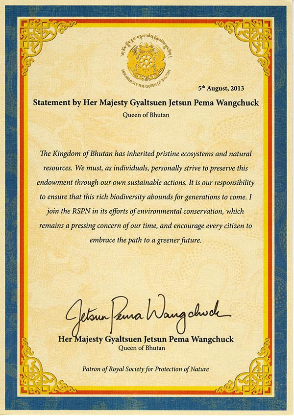 Royal Patron's Statement