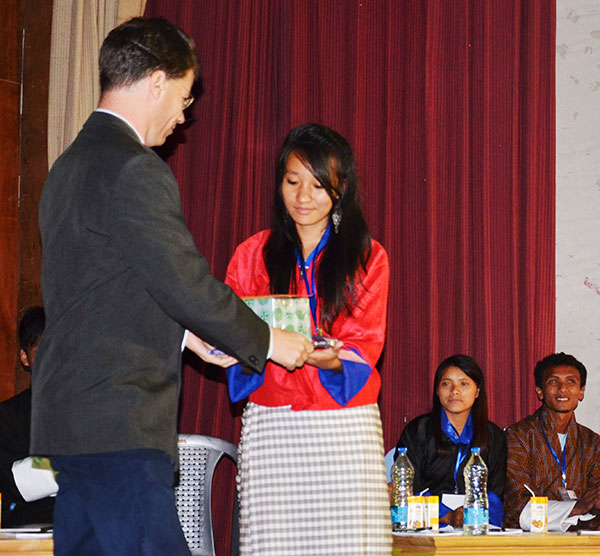 Ms. Jigme Choden, College of Natural Resources receiving the 1st prize